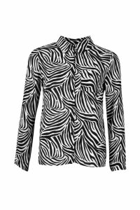 Womens Zebra Print Shirt - black - 12, Black