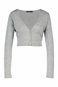 Womens Fine Gauge Button Through Cardigan - silver grey - M, Silver Grey