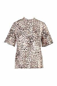 Womens Woven Leopard Angel Sleeve Shell Top - beige - 8, Beige
