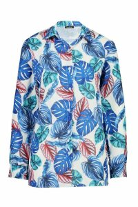 Womens Palm Print Shirt - blue - 8, Blue