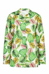 Womens Palm Print Shirt - green - 10, Green