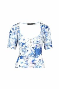 Womens Floral Print Corset Style Top - blue - 10, Blue