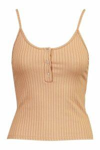 Womens Jumbo Rib Popper Detail Cami - beige - 6, Beige