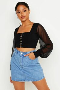 Womens Hook And Eye Cropped Peasant Top - black - 14, Black
