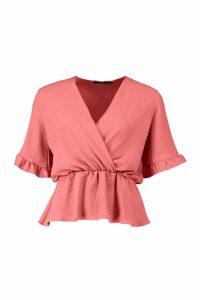 Womens Linen Ruffle Wrap Peplum - pink - 14, Pink