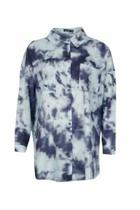 Womens Satin Tie Dye Shirt - blue - 6, Blue