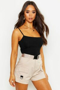 Womens Recycled Chunky Rib Crop Top - Black - 14, Black