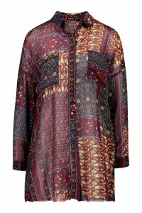Womens Woven Paisly Oversized Shirt - red - 6, Red