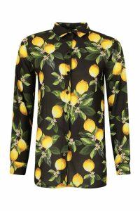 Womens Lemon Print Shirt - black - 10, Black
