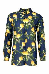 Womens Lemon Print Shirt - blue - 8, Blue