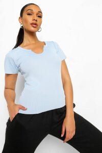 Womens Basic Rib Notch Front T-Shirt - Blue - 14, Blue