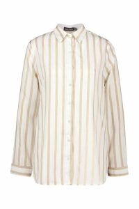 Womens Stripe Oversized Shirt - white - 8, White