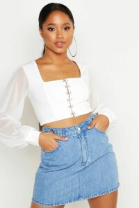 Womens Hook And Eye Cropped Peasant Top - white - 14, White