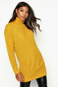 Womens Tall Roll Neck Jumper - yellow - 10, Yellow