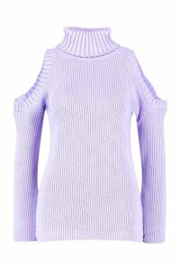 Womens Tall High Neck Cold Shoulder Jumper - purple - 8, Purple
