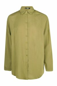 Womens Tall Linen Look Oversized Shirt - green - M, Green