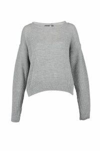 Womens Tall Crew Neck Crop Jumper - grey - L, Grey
