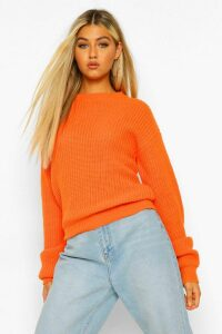 Womens Tall Crew Neck Crop Jumper - orange - L, Orange