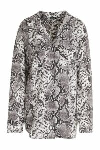 Womens Tall Snake Print Oversized Shirt - grey - 14, Grey