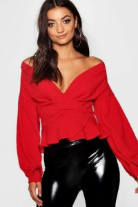 Womens Tall Off The Shoulder Blouse - red - 8, Red