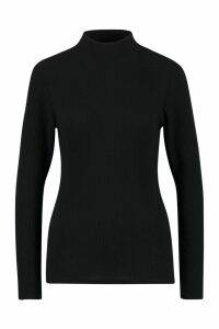 Womens Tall Roll/Polo Neck Rib Knit Jumper - Black - 16, Black