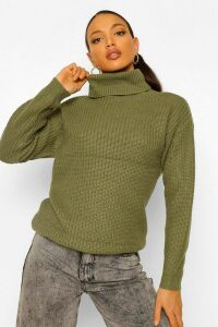 Womens Tall Roll Neck Jumper - green - 16, Green