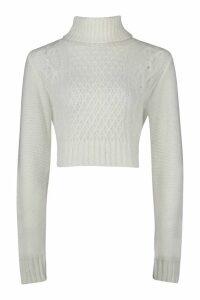 Womens Tall Roll Neck Cable Knit Jumper - White - L, White
