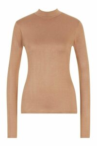 Womens Tall High Neck Basic Top - beige - 16, Beige
