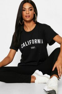 Womens Tall California 1991 Slogan T-Shirt - Black - M, Black
