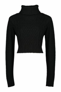 Womens Tall Roll Neck Cable Knit Jumper - Black - L, Black