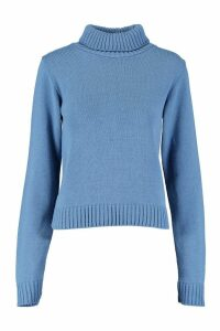 Womens Tall Roll Neck Crop Jumper - blue - L, Blue