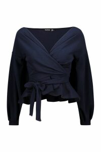 Womens Tall Off The Shoulder Blouse - navy - 12, Navy