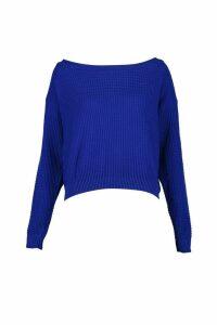 Womens Tall Slash Neck Crop Jumper - blue - S, Blue