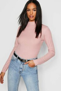 Womens Tall Rib High Neck Top - Pink - 16, Pink