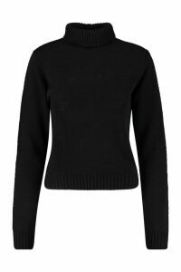 Womens Tall Roll Neck Crop Jumper - Black - M, Black