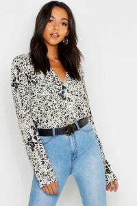 Womens Tall Leopard Print Utility Shirt - Beige - 18, Beige