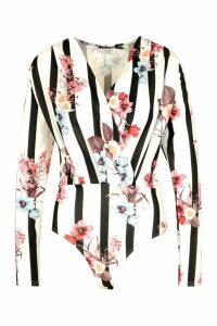 Womens Tall Floral & Stripe Wrap Bodysuit - white - 14, White