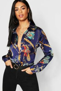 Womens Tall Chain Print Shirt - navy - 6, Navy
