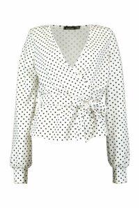 Womens Tall Polka Dot Print Wrap Front Top - white - 14, White