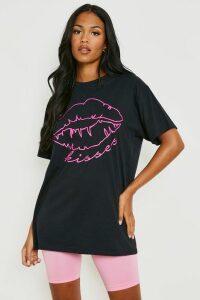 Womens Tall Neon Lips Slogan T-Shirt - black - M, Black