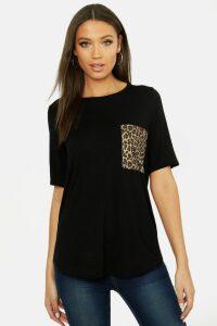 Womens Tall Leopard Print Pocket T-Shirt - black - 10, Black