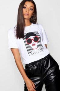 Womens Tall French Slogan Face Print T-Shirt - White - M, White