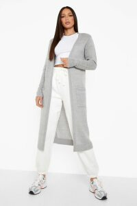 Womens Tall Chunky Knit Longline Cardigan - grey - 8, Grey