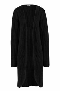 Womens Tall Fisherman Rib Cardigan - Black - 6, Black