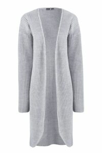 Womens Tall Fisherman Rib Cardigan - grey - 14, Grey