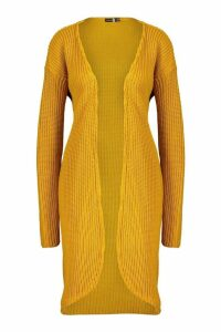 Womens Tall Fisherman Rib Cardigan - yellow - 14, Yellow