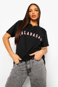 Womens Tall Calabasas Slogan T-shirt - black - XL, Black