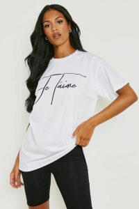 Womens Tall Je Tamie Slogan T-Shirt - White - M, White