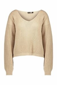 Womens Tall V Neck Jumper - cream - S/M, Cream
