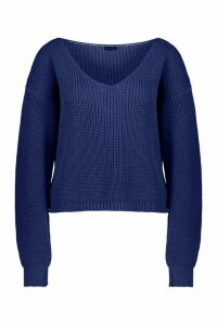 Womens Tall V Neck Jumper - blue - S/M, Blue